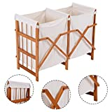 PROSPERLY U.S. Product Household Folding Bamboo Frame Laundry Hamper Clothes Storage Basket Bin W/2 Bag