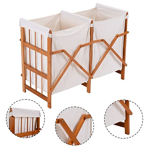 Modern, Elegant Design Household Folding Bamboo Frame Laundry, Cloths Storage Hamper With 2 Bags Collecting Your Laundry Item In (Black Wet Look Bean Bag)