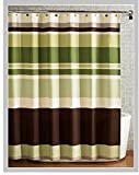 Fabric Shower Curtain,multi-color Printed Striped Green Coffee