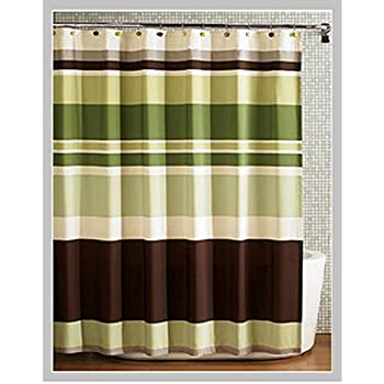 beige and brown shower curtain. Fabric Shower Curtain multi color Printed Striped Green Coffee Amazon com  Lush Decor Mia Brown Home Kitchen