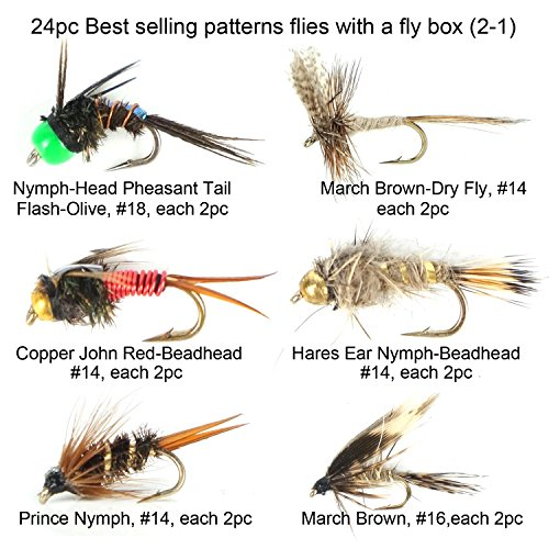 Riverruns Best Assortment 12 Patterns Flies Collection Total 24 Flies with A Fly Box, March Brown, Copper John, Prince Nymph, Woolybugger, Blue Wing, Adams Adults Fly Fishing Trout Dry