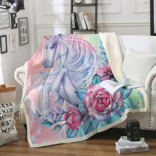 Sleepwish Unicorn Rose Print Super Soft Throw Blanket Pink Blue Magical Horse Blanket Girls Fantasy Fleece Blankets (60