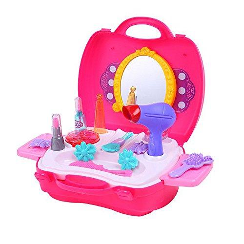 Youtop Kids Dresser with Mirror Accessories Pretend Play Makeup Set Rosy