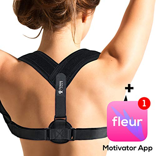 Adjustable Posture Corrector for Women with Motivator App by Harmony State - 1h a Day System, Effective, Fast Improvement and Comfortable Orthopedic Upper Back and Shoulder Support | FDA Approved