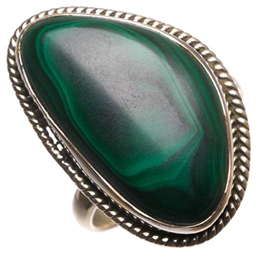 Natural Malachite Handmade Mexican 925 Sterling Silver Ring, Size 8.25 U1996