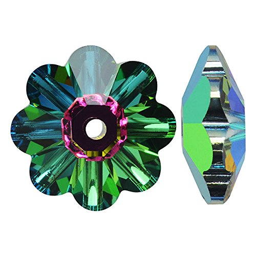SWAROVSKI ELEMENTS #3700 8mm Crystal Flower Margarita Beads Vitrail Medium (12) Swarovski Crystal Margarita Beads