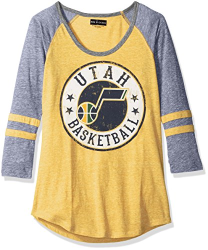 NBA Utah Jazz Adult Women Ladies Tri Blend Jersey 3/4 sleeve with sleeve stripes,L,Tri Natural Gold