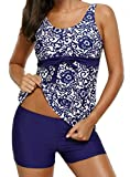Yonique Floral Print Tankini Swimsuit for Women with Boyshort Two Piece Bathing Suit