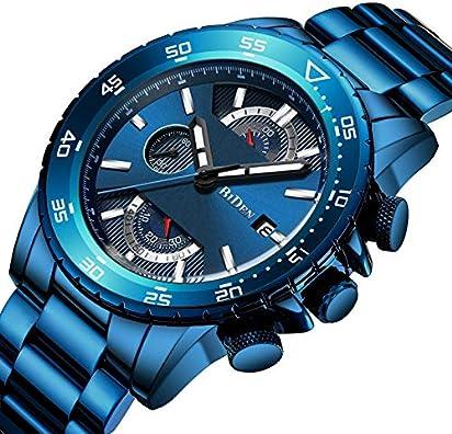 Watch Men's Watch Fashion Casual Classic Chronograph Waterproof Calendar Date Analog Quartz Stainless Steel Wrist Watch for Men (Blue)
