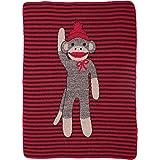 Green 3 Sock Monkey Stripe Throw Toddler Blanket