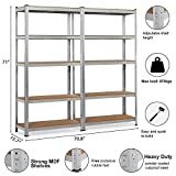 "Topeakmart 5 Tier Storage Rack Heavy Duty Shelf Steel Shelving Units,71""Height,1929 lb Capacity per Bay (2 Bay Garage Shelves)"