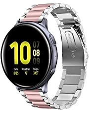 Shangpule Compatible for Galaxy Watch Active 2 40mm Bands, Active2 44mm Band, 20mm Stainless Steel Strap Compatible for Samsung Galaxy Active 2 (Silver + Pink)