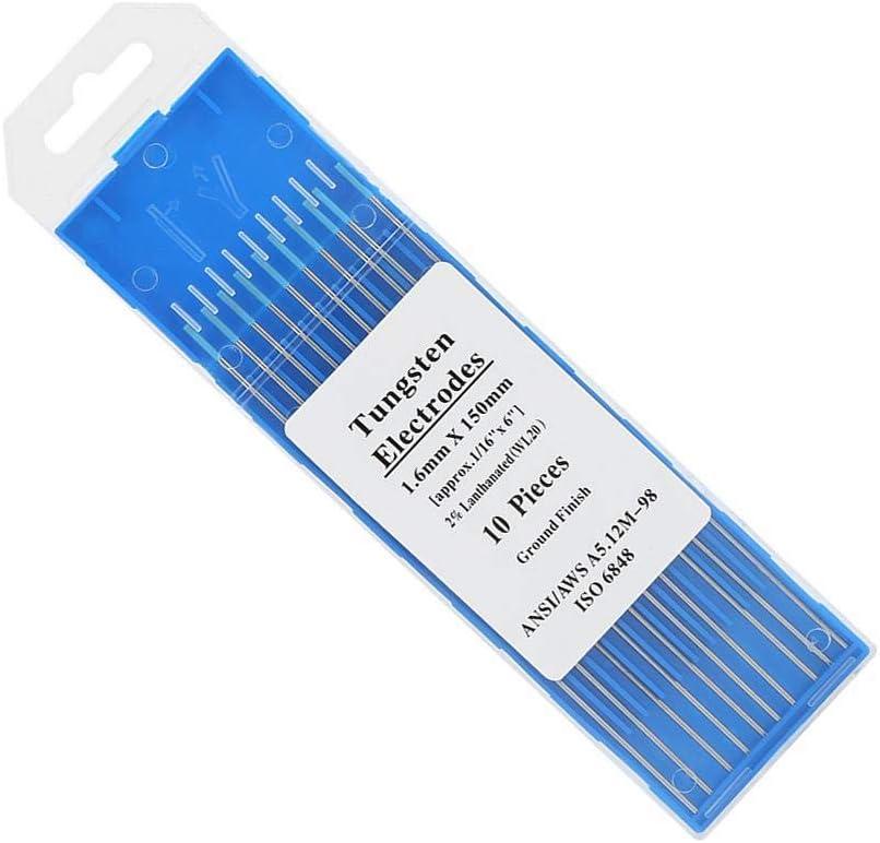 10 Unids//Caja Premium WL20 Tungsteno TIG Tungsten Electrodo Varilla 2.0/% Lanthanated para m/áquina de soldadura 1.6mm*150mm