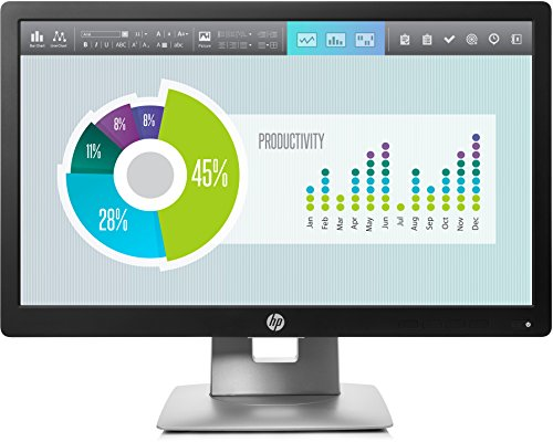 HP EliteDisplay E202 50,8cm (20 Zoll) Monitor (HD+, HDMI, VGA, DisplayPort 1.2, 7ms Reaktionszeit) schwarz/silber
