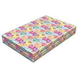 Lunarable Hearts Dog Bed, Abstract Heart Motifs with Doodle Effects Vivid Colored Image Valentines Day Theme, Durable Washable Mat with Decorative Fabric Cover, 48'' x 32'' x 6'', Multicolor