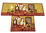 EUCH Non-slip Rubber Backing Carpet Kitchen Mat Doormat Runner Bathroom Rug 2 Piece Sets,15''x47''+15''x23'' (chef)