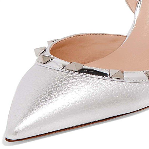 6bcdd5772e66c Ayercony Rivets Studded Sandal, Woman's Pointed Toe Sandals High Heels  Slingback Pumps Rockstudded for Dress Party Silvery Snakeskin 10CM Size 8 US