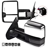SCITOO fit Chevy GMC Towing Mirrors Puddle Lights Chrome Rear View Mirrors fit 2014-2018 Silverado/Sierra 1500 2500HD 3500HD Clearance Turn Signal Power Controlling Heated