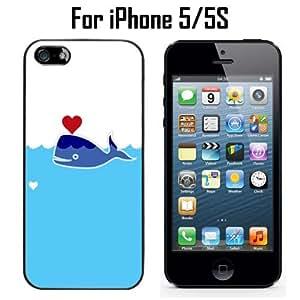 Cute Sperm Whale Heart Custom Case/ Cover/Skin *NEW* Case for Apple iPhone 5/5S - Black - Plastic Case (Ships from CA) Custom Protective Case , Design Case-ATT Verizon T-mobile Sprint ,Friendly Packaging - Slim Case