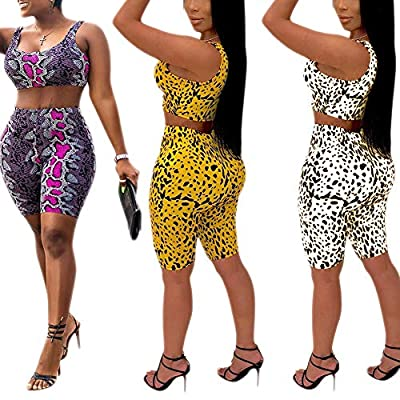 Women's Sexy Bodycon 2 Piece Outfits Crop Top Shorts Pants Jumpsuit Romper Set at Women's Clothing store