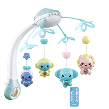 Blueyouth Baby Mobile for Cots with Music 360/° Rotated Baby Musical Crib Mobile Bed Bell Toys Hanging Rattles Rotating Projection Gift Batteries are Not Included