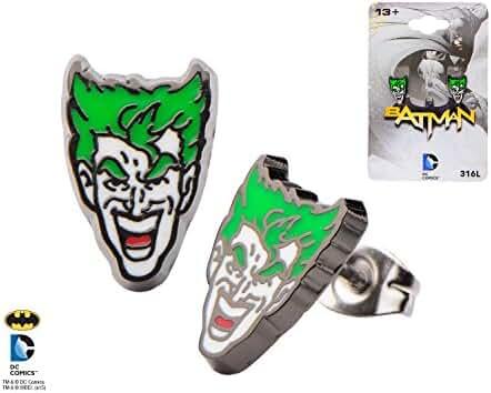 Joker Face Stud Earrings - Officially Licensed Batman Item