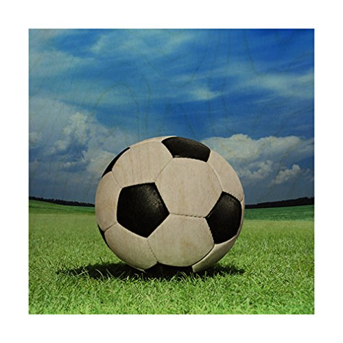 Style in Print Soccer Ball On Green Grass Wood Print Wall Art Wall Decor - 20''x20'' by Style in Print
