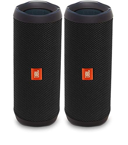 JBL Flip 4 Waterproof Portable Wireless Bluetooth Speaker Bundle – (Pair) Black