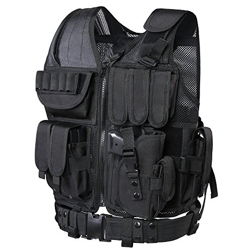 Review GZ XINXING Tactical Airsoft Paintball Combat Military Swat Assault Army Shooting Hunting Outdoor Molle Police Vest With Pistol Holster