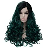 Women Wigs Dark Green Long Wig Yaki Women's Curly Wig Wavy Two Tones Elegant Capless Rose Hairnet Shaggy Natural as Human Hair Wig For Woman Lady Girl Green+Black Ramp Ombre Gradient Deep Greed