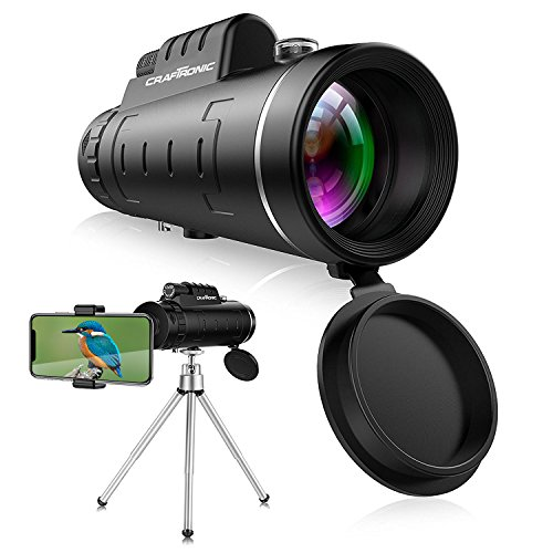 Monocular Telescopes – HD 12X50 High-Powered Bak4 Prism Low Night Vision with iPhone Adapter and Tripods Waterproof Fog-Proof for Bird Watching Wildlife Scenery Sports Traveling by Craftronic