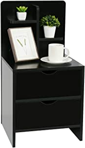 YOURLITE Wood End Table with Storage Shelf 2 Drawers Nightstand Side Table Cabinet Bedside Furniture for Bedroom, Home (Black end Table)