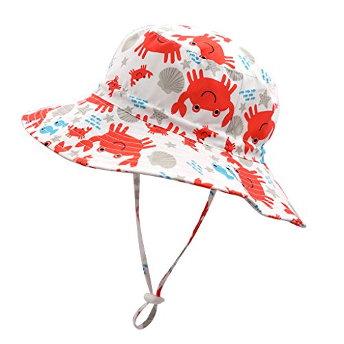 Home Prefer Baby Bucket Hat UV Protection Hat Wide Brim Breathable Sun Block Hat Crab #46