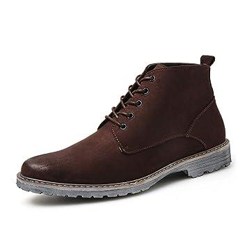 f426a1a8c9a86 HILOTU Hombres Botas de Gamuza Chukka Casual Cómodo Cordones Retro Botín  Calle con Estilo Zapatos para Caminar (Color   Marrón