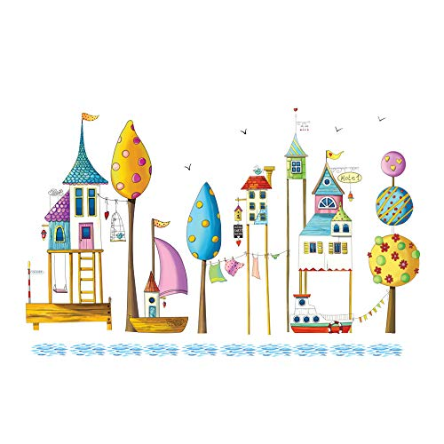 (decalmile Colorful Seaside Sailboat and Tree Wall Stickers Kids Room Wall Decor Vinyl Removable Wall Decals Baby Nursery Bedroom Girls Room Decoration)