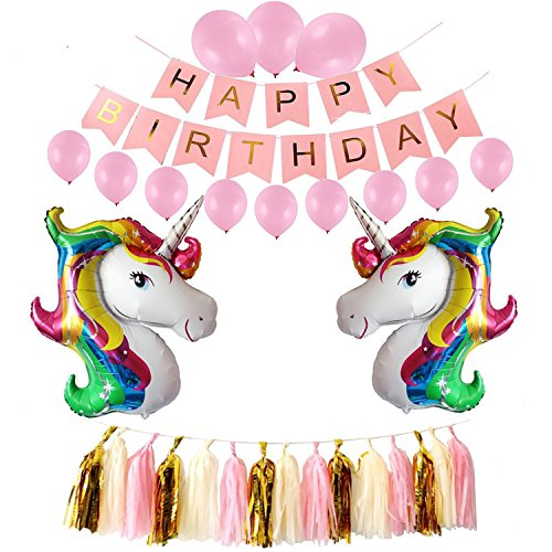Unicorn Kids Party Supplies Set - Happy Birthday Banner, Sparkle Foil Balloons, Photo Booth (Sparkle Foil Balloon)