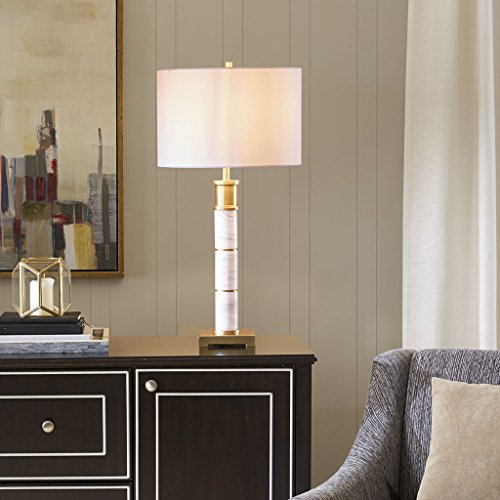 Madison Park Signature MPS153-0070 Adeline Desk Lamp, Bedside Nightstand Bedroom Light Modern Luxe Design, Marble Base with Gold Plated Accent, Drum Fabric Shade, 29