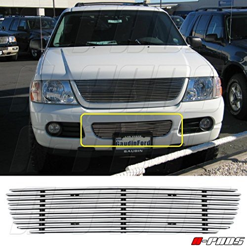 A-PADS Polished REPLACEMENT Billet Grille for 2002 2003 2004 2005 FORD EXPLORER BUMPER -NO CUT 1PC BUMPER 10 BARS ()