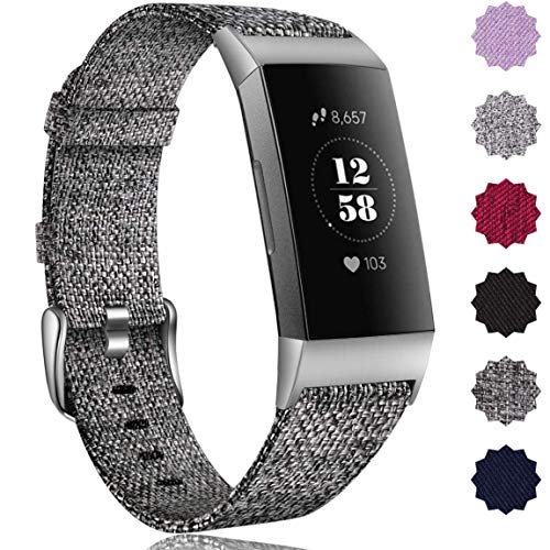 Maledan Bands Compatible with Fitbit Charge 3 & Charge 3 SE Fitness Activity Tracker for Women Men, Breathable Woven Fabric Replacement Accessory Strap (A Charcoal, Large Size: 6.5-8.1 Wrist)