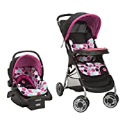 Disney Baby Minnie Mouse Lift & Stroll Plus Travel System with Light 'N Comfy Infant Car Seat, Minnie Dotty