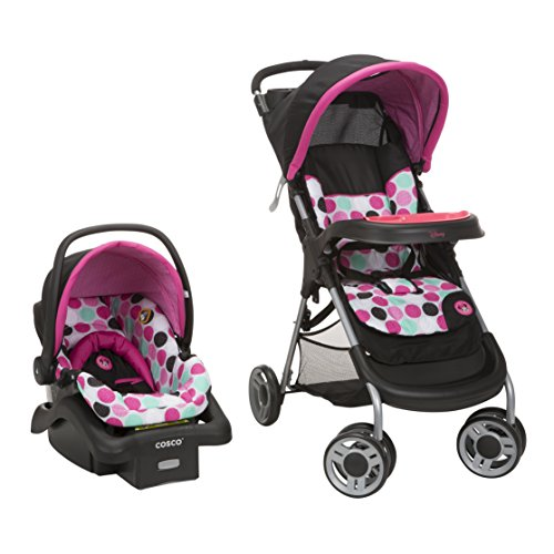 Disney Baby Minnie Mouse Lift & Stroll Plus Travel System with Light N Comfy Infant Car Seat, Minnie Dotty