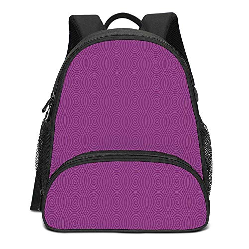 Magenta Decor Durable Kids Backpack,Turning Rotary Spiral Tile Twist Symmetric Spinning Plural Motion Modern Image for School Travel,10