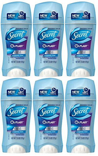 SECRET Outlast Xtend Invisible Solid Antiperspirant & Deodorant, Completely Clean, 2.6 Oz (6 Pack)