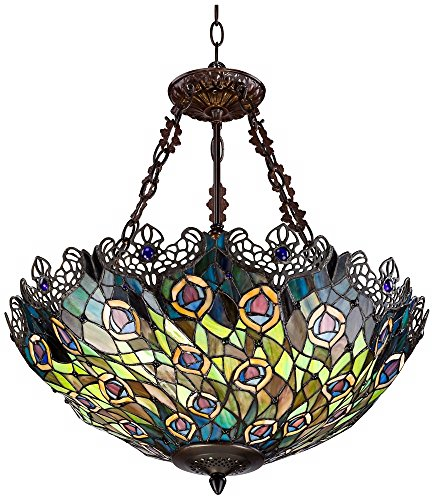 Peacock Feather 3Light Tiffany Art Glass Pendant Chandeliers – Chandelier Tiffany