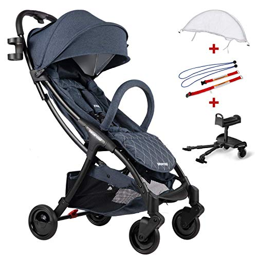 Compact Stroller 2020 Ultra Lightweight Baby Stroller + Baby Stroller Glider Board + Universal Mosquito Net + Universal Car Seat Adapter Blude Jeans & White