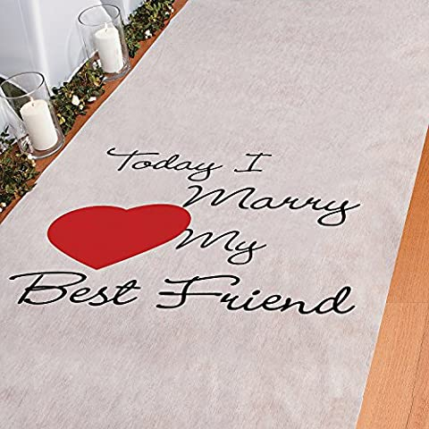 Today I Marry My Best Friend Aisle Runner Wedding Ceremony White Bridal