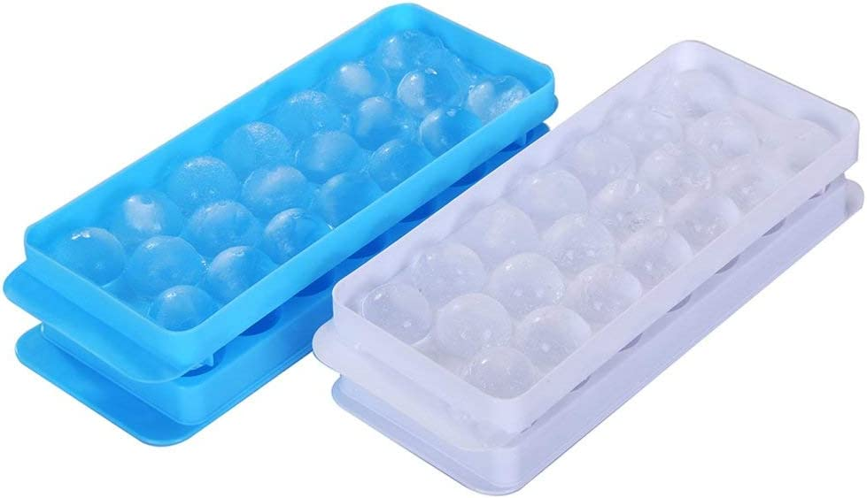Frexmall Ice Ball Tray Spheres Ice Cube Mold, Plastic Food-Grade Stackable Round Ice Ball Mold with Lid for Cocktail and Whiskey - Set of 2 (Blue & White)