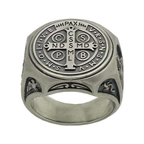 bfa947110db Anillo de plata de ley 925 símbolo de San Benito