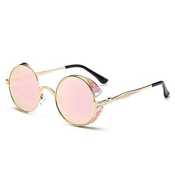 LHWY Femmes hommes été Vintage Retro lunettes de soleil ronde lunettes de soleil lunettes aviateur miroir lentille (Or, Rouge)