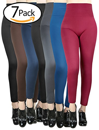 Women Winter High Waist Spanx Fleece Lined Leggings Ladies Seamless Ankle 7 Pack – DiZiSports Store